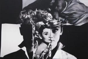 Girl, interrupted, 2018. Collage, pintura digital y acrílico sobre lienzo, 124 x 174 cm