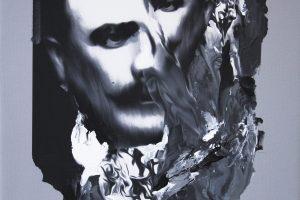 Sin titulo, 2018. Collage, pintura digital y acrílico sobre lienzo, 50 x 40 cm
